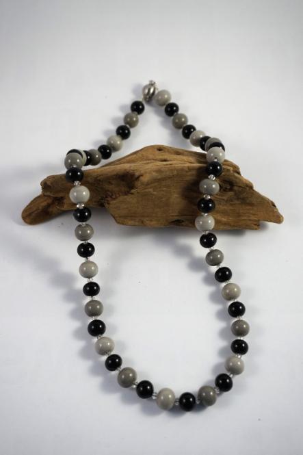 Perlenkette Schwarz Grau